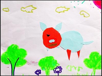 彩纸粘贴画:小猪在散步