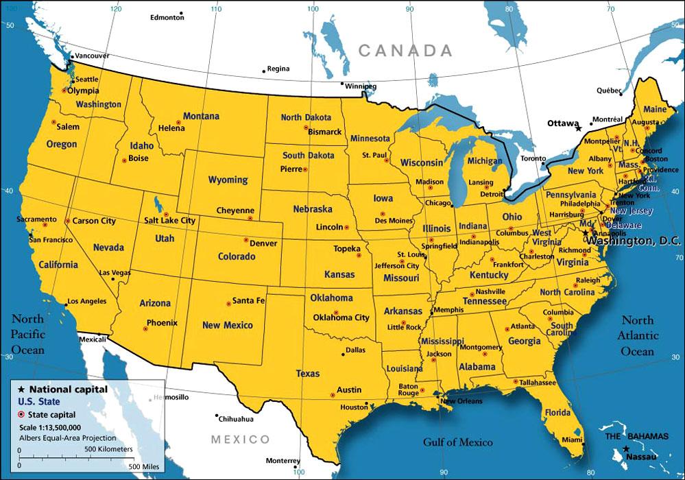 美国中英文地图-英语爱好者