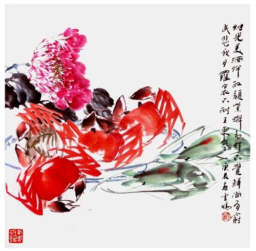 赏虾蟹图有感>>(七绝)(雪莲花拙笔)(和 画意诗情 之