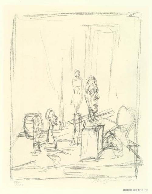 现代雕塑手绘线稿