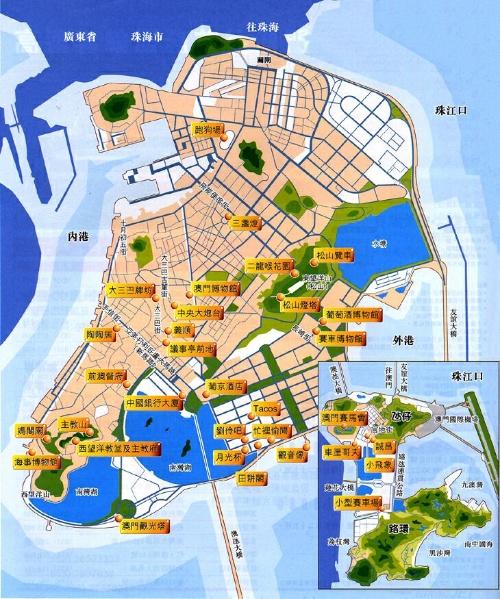 澳门的旅游景点地图