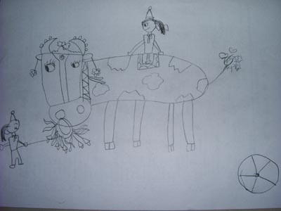 """这是芊芊上个月的铅笔画""""爸爸妈妈的婚礼""""."""