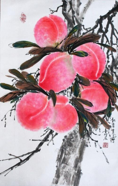 克里丝汀(加拿大)  崔先生的中国画的寿桃和我
